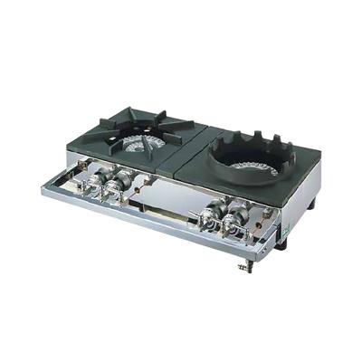 ガステーブルコンロ用 兼用レンジ S-2228 (2連、2重、受皿付き) LPガス 700×450×H158mm【 アドキッチン 】