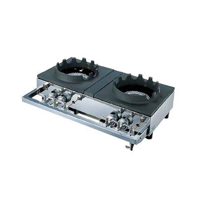 中華レンジ S-2225 (2連、2重、受皿付き) LPガス 700×450×H158mm