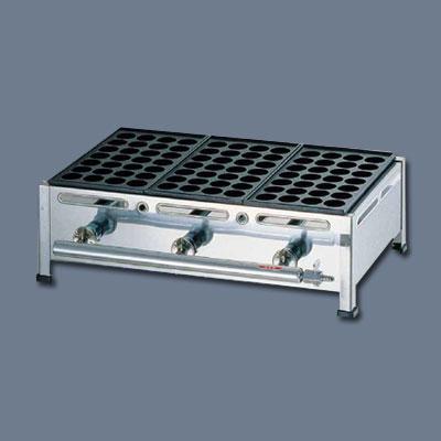 関西式たこ焼器(28穴) 3枚掛 LPガス 600×350×H180mm【 アドキッチン 】