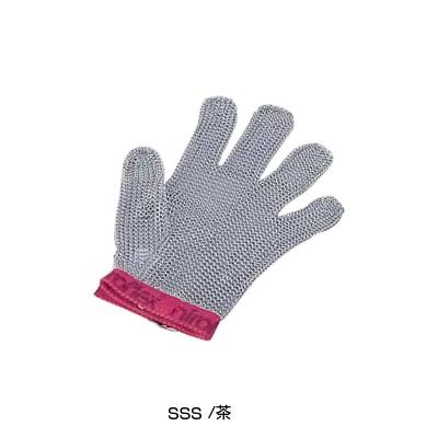 ニロフレックス メッシュ手袋 5本指(片手)(ナイロン繊維ベルト) SSS SSS5<茶>【 アドキッチン 】