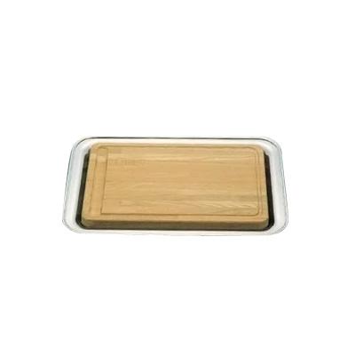 【エントリーでP5倍!6/4 20:00-6/11 1:59】UK 木製 カッティングボード(18-8角盆付) 505×370mm【 アドキッチン 】