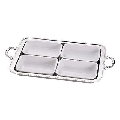 UK 18-8 ユニット角湯煎用陶器セット 4分割 (4枚組) 22インチ用【 アドキッチン 】