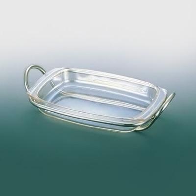UK 角ベジタブルデッシュ (銀メッキ・耐熱強化ガラス) 340×215×H50mm