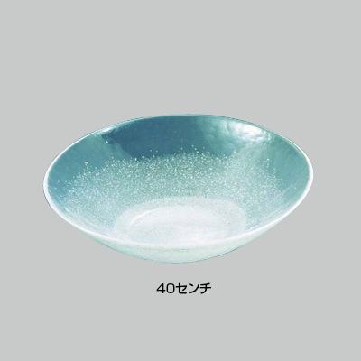 硝子和食器 白雪15 40センチ 丸盛込皿 直径400×H100mm