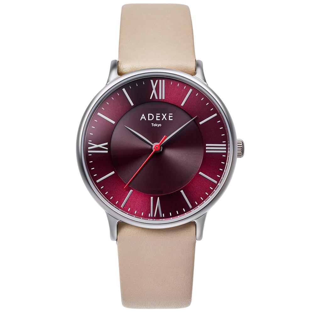 ADEXE (アデクス)1870E-03 ユニセックス 腕時計 ソーラー バッテリー PETITE (プチ) Lightworker (ライトワーカー) 33mm シルバー レッド ライトベージュ ギフト インスタ映えマスト! ADEXE (アデクス)