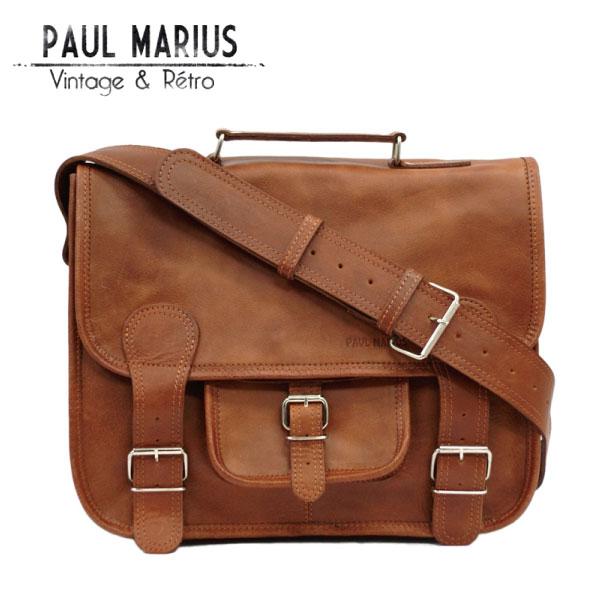 レトロな学生鞄 Mサイズ ショルダーバッグ ■CAR-35Mブラウン PAUL MARIUS /ポール・マリウス/A4/本革/ナチュラル/バッファローレザー/サッチェルバッグ