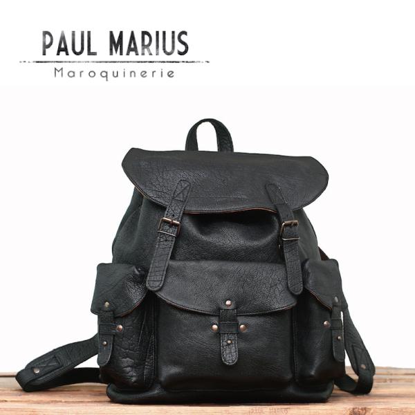 3ポケット リュックサック メリディアン ■MER-39 ブラック/PAUL MARIUS/ポール・マリウス/本革/ナチュラル/バックパック