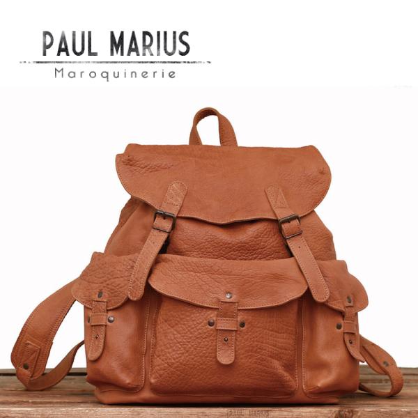 3ポケット リュックサック メリディアン ■MER-39 サンド/PAUL MARIUS/ポール・マリウス/本革/ナチュラル/バックパック