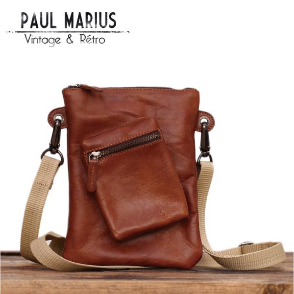ポールのポシェット ショルダーバッグ ポーチ ■PDP-19ブラウン PAUL MARIUS /ポール・マリウス/本革/ナチュラル