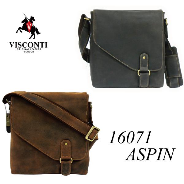 本革/バックル変形フラップ/レザーメッセンジャーバッグ/VISCONTI/Aspin/16071
