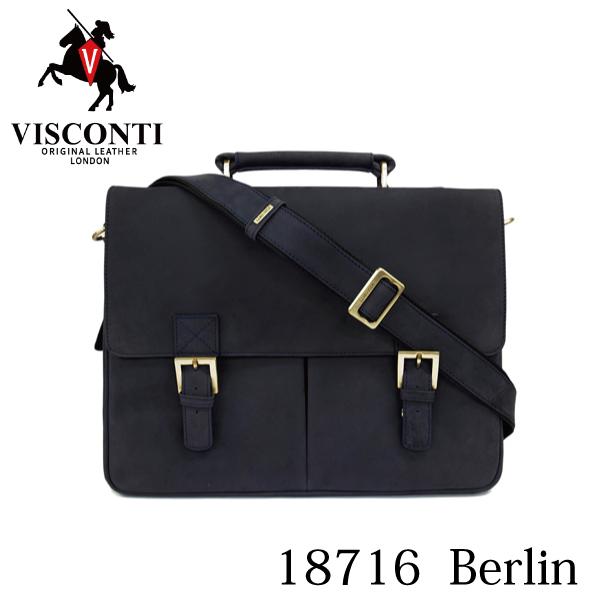 本革/A4/通勤/ダブルロック レザービジネスバッグ ブリーフケース【VISCONTI】BERLIN/18716 オイルブルー