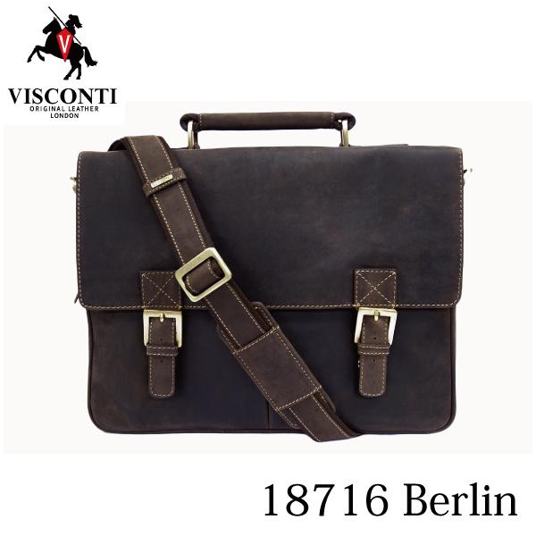 本革/A4/通勤/ダブルロック レザービジネスバッグ ブリーフケース/VISCONTI/BERLIN/18716 オイルブラウン