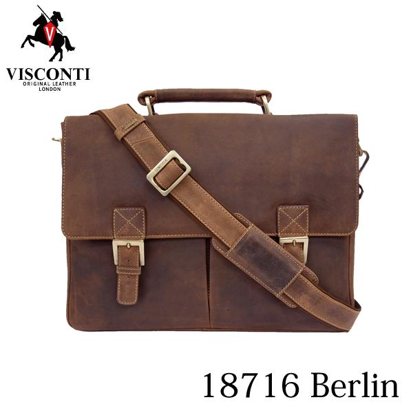 本革/A4/通勤/ダブルロック レザービジネスバッグ ブリーフケース【VISCONTI】BERLIN/18716 オイルタン