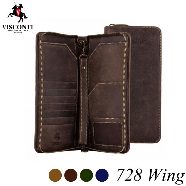 トラベルウォレット 728 Wing /パスポートケース/通帳ケース/カードケース/本革/オイルレザー[VISCONTI]
