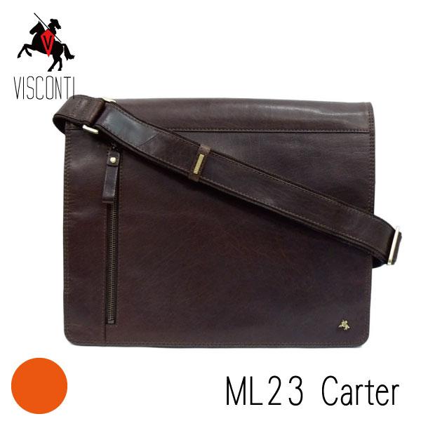 【VISCONTI】Carter/ML23ブラウン 本革/A4/ フルフラップ バッファローレザーメッセンジャーバッグ /斜め掛け/メンズ/