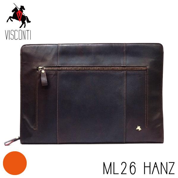 本革/A4/バッファローレザー セカンドバッグ /クラッチバッグ/メンズ/【VISCONTI】ML26 HANZブラウン