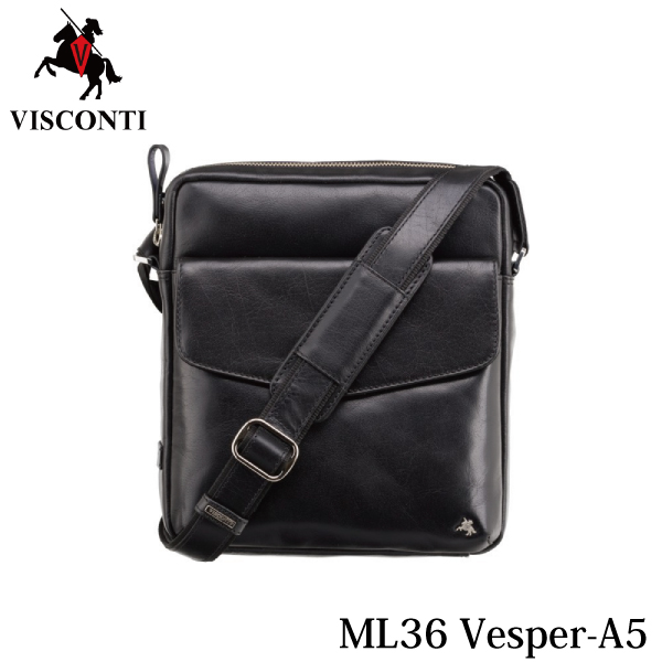 ML36 ミディアムショルダーバッグ Vesper-A5 ブラック /VISCONTI/本革/バッファローレザー/A5/
