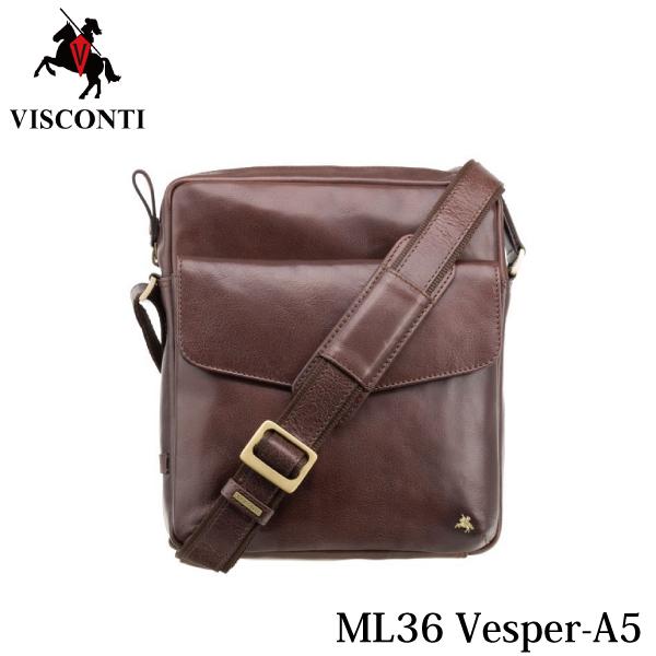 ML36 ミディアムショルダーバッグ Vesper-A5 ブラウン /VISCONTI/本革/バッファローレザー/A5/