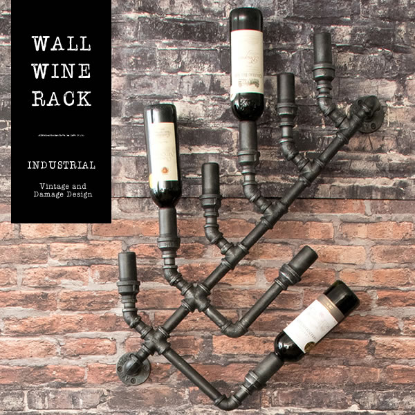 【送料無料】【代引可】ウォールワインラック INDUSTRIAL(インダストリアル) 幅44×奥行き13×高さ88cm スチール 配水管デザイン ブラック rk-a820