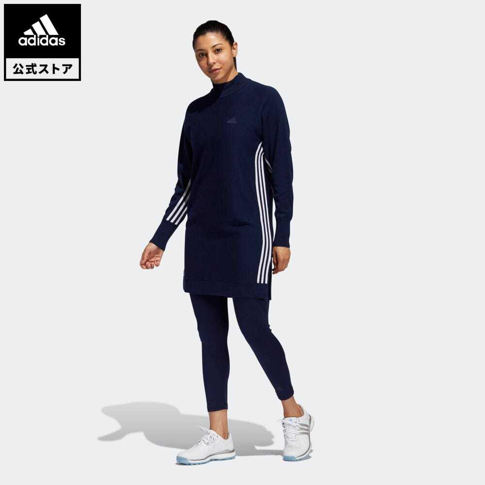 【送料無料】公式セール セール価格 【公式】アディダス adidas 返品可 ゴルフ スリーストライプス プルオーバー セーターワンピース / Crewneck Sweater Dress レディース ウェア・服 トップス スウェット(トレーナー) 青 ブルー FS6367 notp