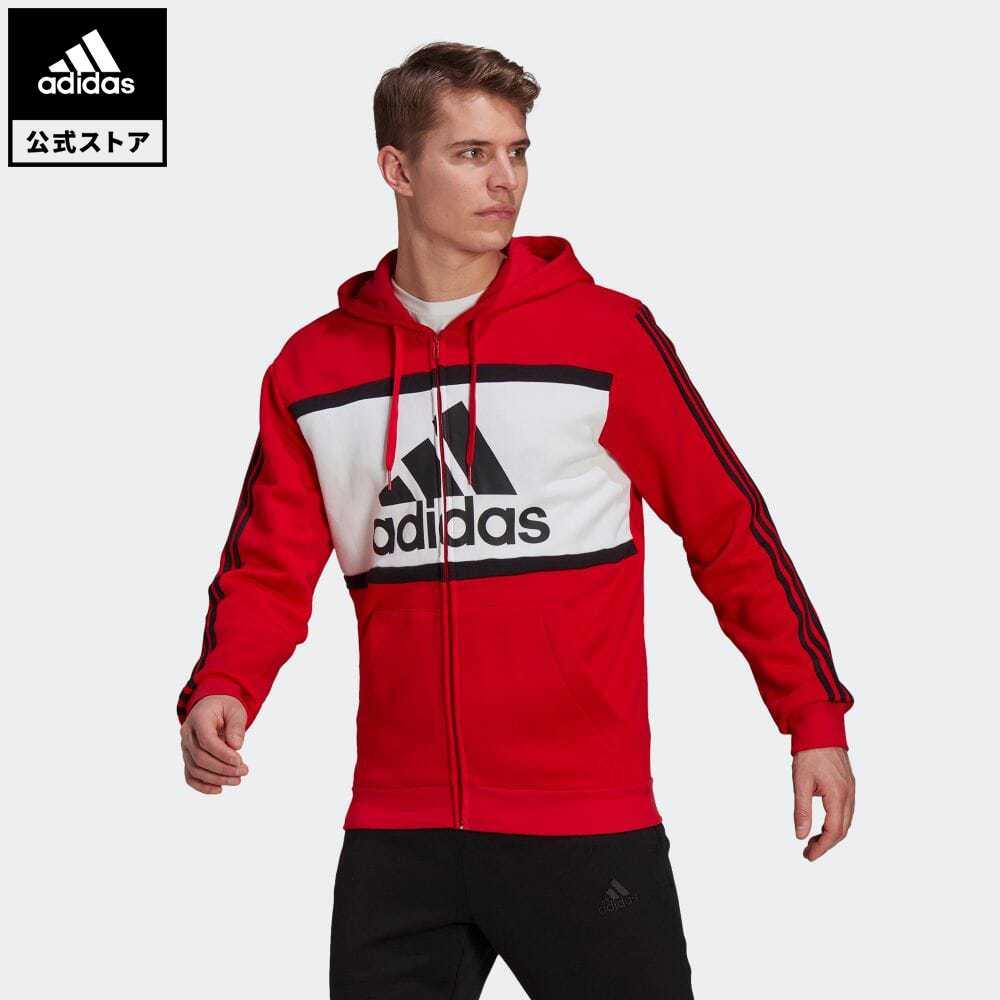 【送料無料】公式セール セール価格 エッセンシャルズ 【公式】アディダス adidas 返品可 エッセンシャルズ カラーブロック ロゴ パーカー / Essentials Colorblock Logo Hoodie メンズ ウェア・服 トップス パーカー(フーディー) ジャージ 赤 レッド GP4313 トレーナー