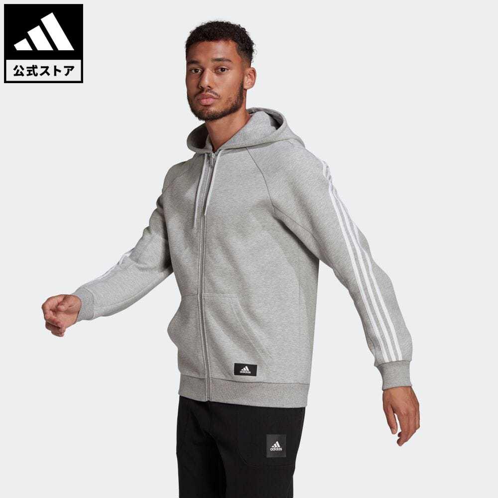 【送料無料】公式セール セール価格 スリー ストライプス 【公式】アディダス adidas 返品可 アディダス スポーツウェア 3ストライプス フード付きトラックトップ / adidas Sportswear 3-Stripes Hooded Track Top アスレティクス メンズ ウェア・服 トップス パーカー(フーディー) ジャージ グレー GL5679 トレーナー