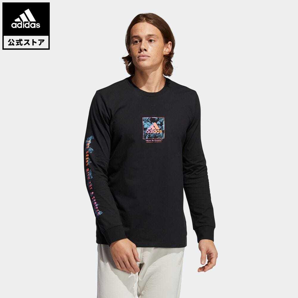 公式セール セール価格 【公式】アディダス adidas 返品可 フローラル 長袖Tシャツ / Floral Tee メンズ ウェア・服 トップス Tシャツ 黒 ブラック GN7115 ロンt