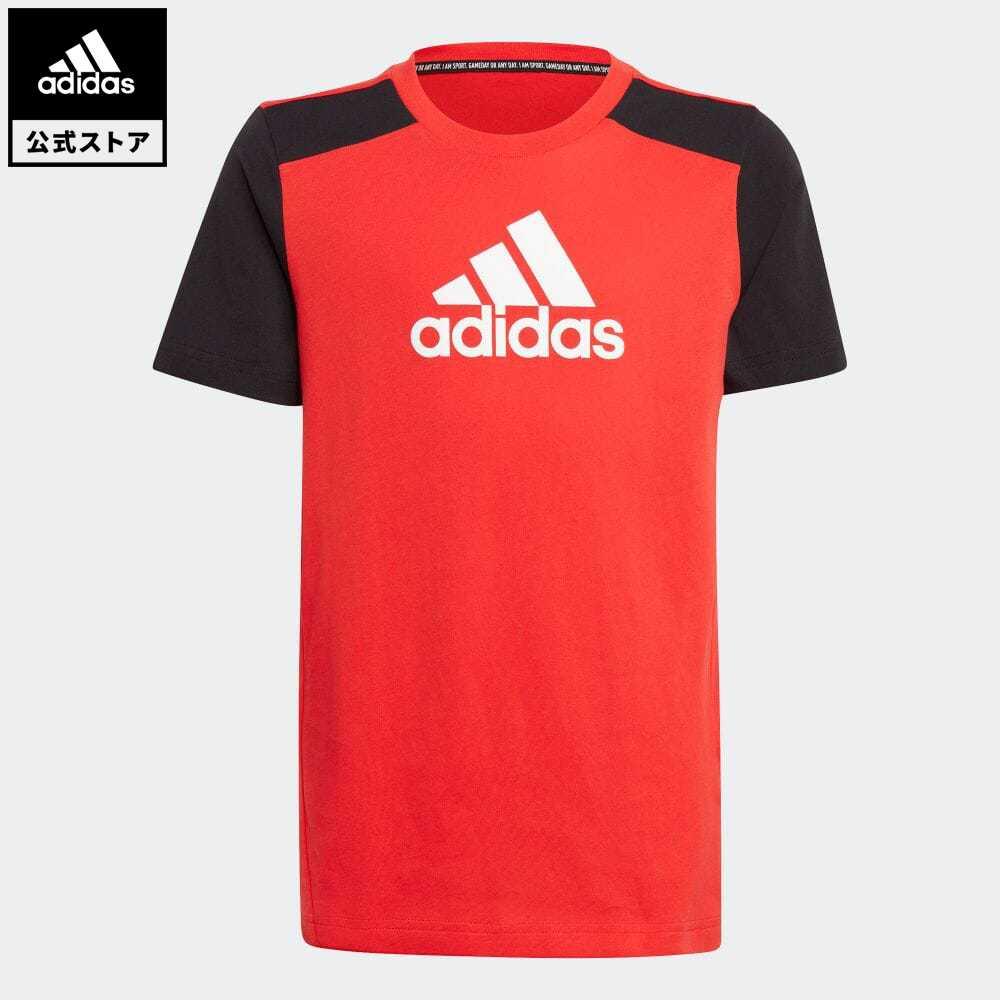 公式セール セール価格 公式 ショップ アディダス adidas 返品可 ジム トレーニング ロゴ 半袖Tシャツ チープ Logo Tシャツ レッド トップス 赤 キッズ 半袖 Tee ウェア GJ6644 服