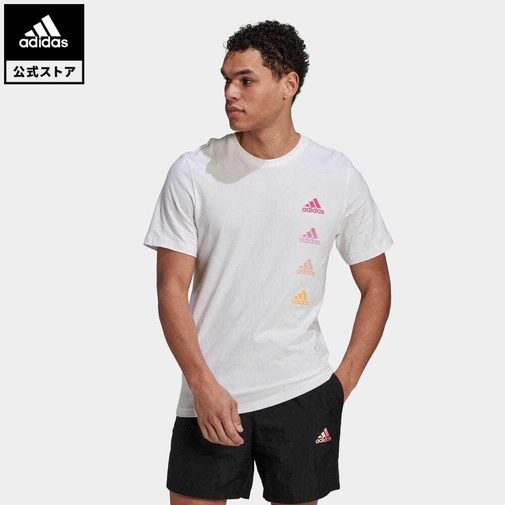 公式セール エッセンシャルズ summersale0806 公式 アディダス adidas メーカー直送 返品可 グラディエント ロゴ 半袖Tシャツ Essentials Gradient ホワイト 服 トップス Tシャツ ウェア GK9416 半袖 Tee メンズ Logo 白 世界の人気ブランド