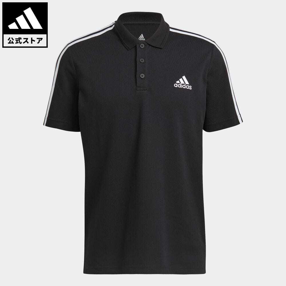 公式セール セール価格 エッセンシャルズ 【公式】アディダス adidas 返品可 M ESS 3ストライプス PQ ポロシャツ メンズ ウェア・服 トップス ポロシャツ 黒 ブラック GK9097