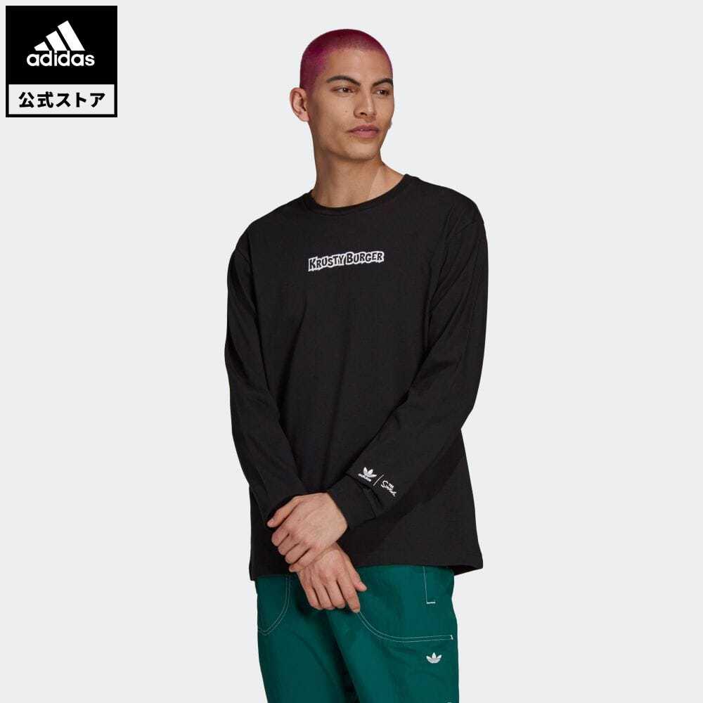 公式セール ザ シンプソンズ summersale0806 日本最大級の品揃え 公式 アディダス adidas 返品可 クラスティバーガー 長袖Tシャツ ウェア HA5819 ブラック Tシャツ 服 オリジナルス トップス メンズ 黒 半袖 捧呈