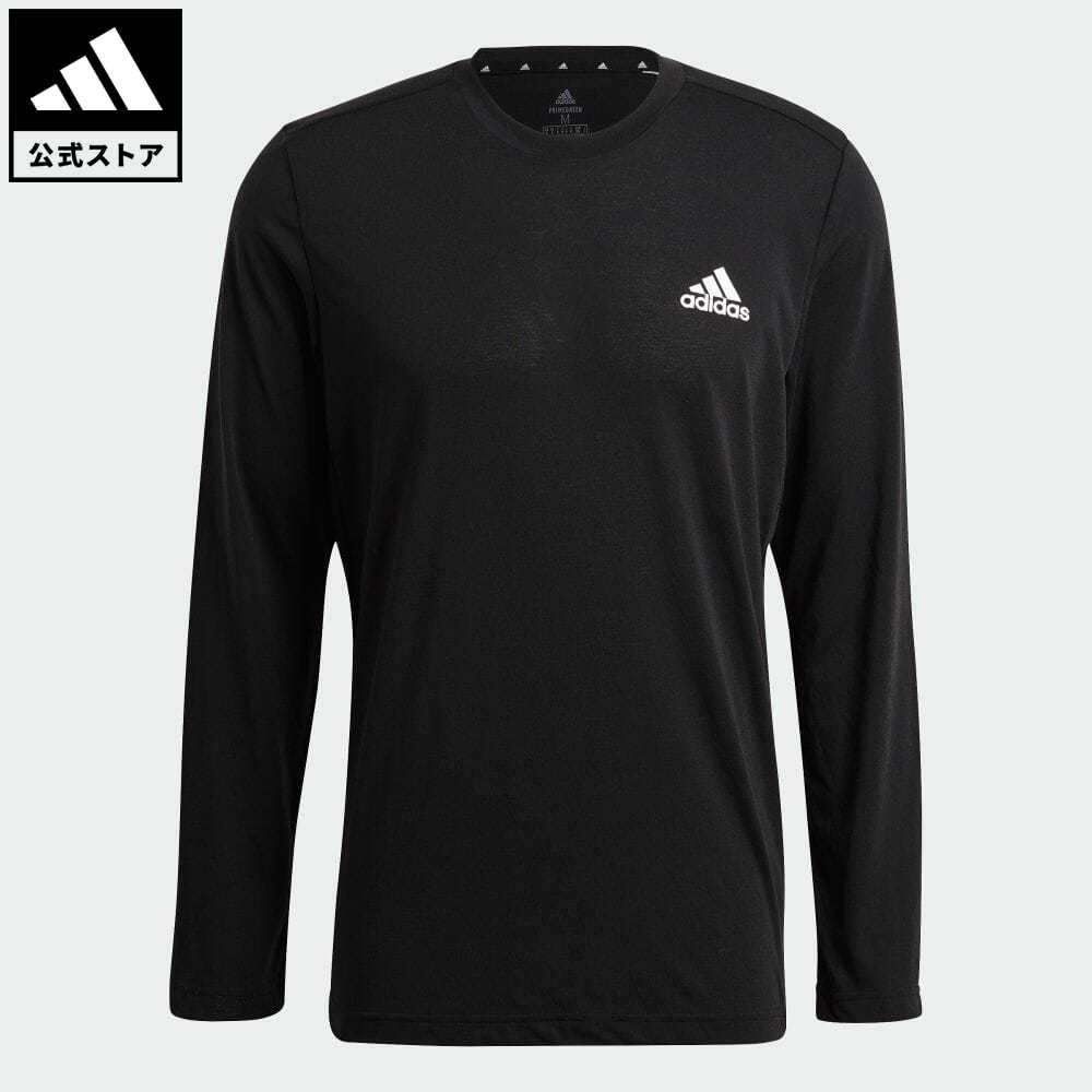 エッセンシャルズ 公式 アディダス adidas 返品可 ジム トレーニング M D2M メランジ GT5563 ブラック ウェア トップス 激安 激安特価 店 送料無料 ロングTシャツ ロンt メンズ 黒 Tシャツ 服