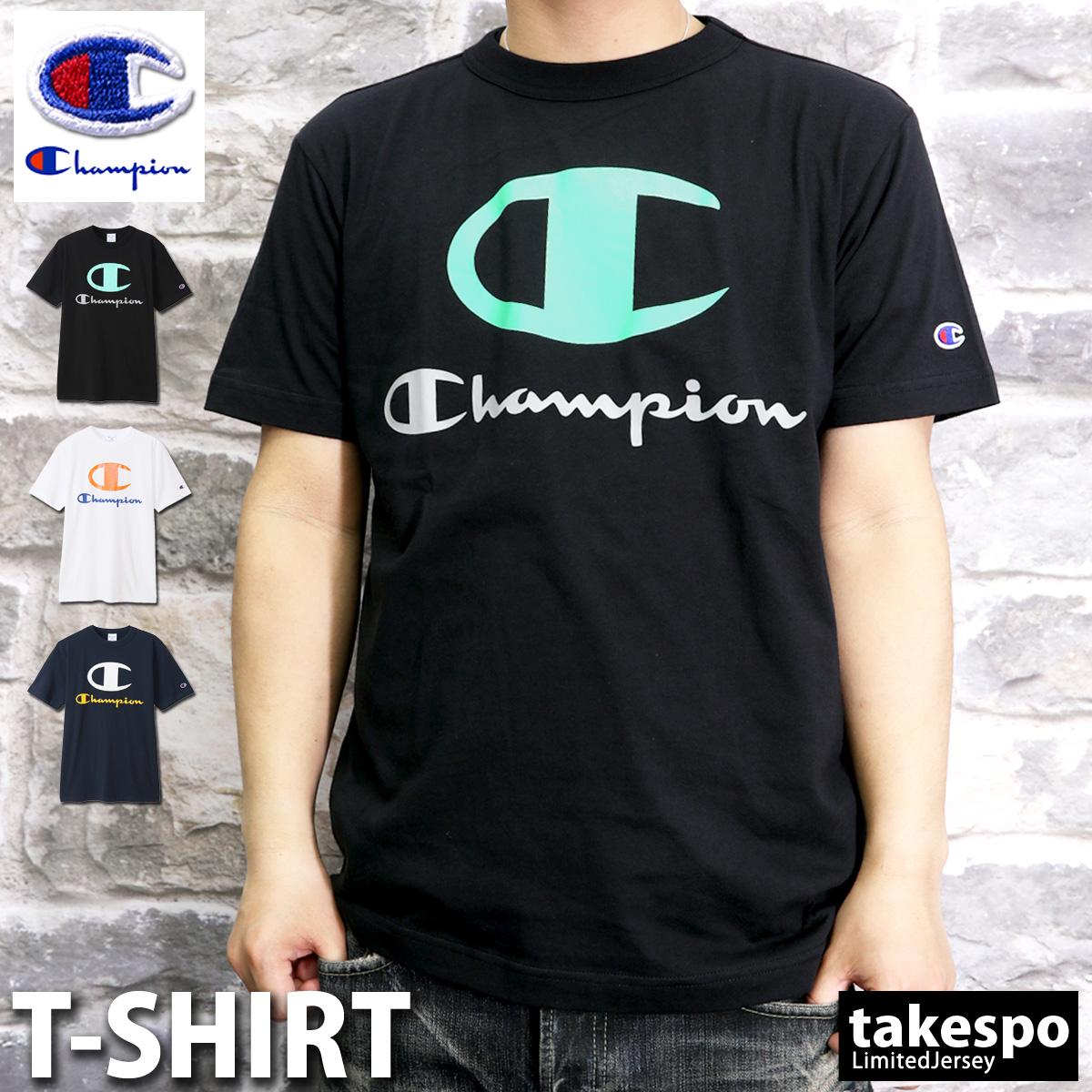 チャンピオン 初売り メンズ Tシャツ 21SS 新作 上 Champion ビッグロゴ 半袖 C3T307 おしゃれ 最安値 トレーニングウェア スポーツウェア 有 ブランド 大きいサイズ スポーツ 送料無料