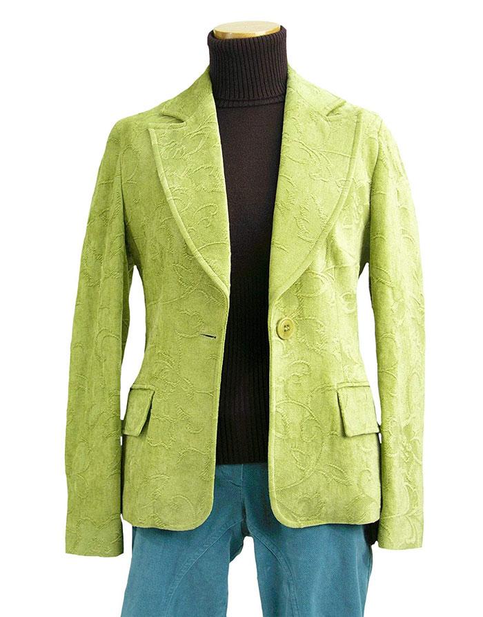 【イタリア製】知的で優雅な気品が漂うお花地模様が美しいジャケット【グリーン】(伊Ke)レディース 7~10号