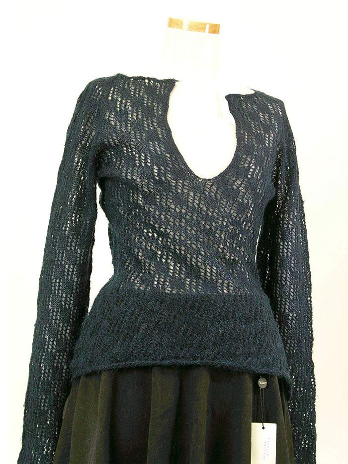 【イタリア製】【婦人服】春から秋重ね着にピッタリの知的エレガントでおしゃれな薄手セーター(伊Re)【ネイビー】レディース 11~12号