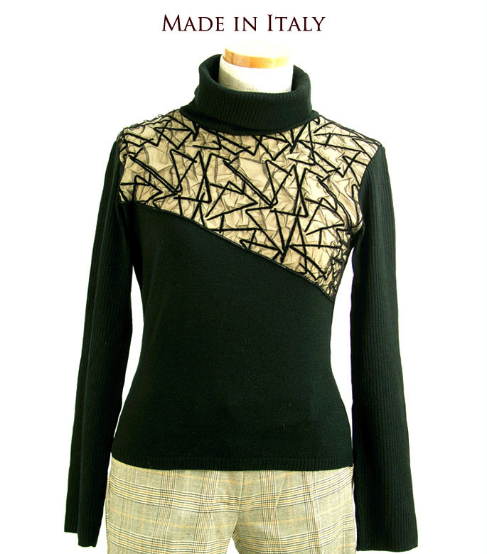 53d3c0ea6d32 Diagonally cut! Your mesh knit sweater turtle (I-Za) overseas celebrity  party dinner ladies size M