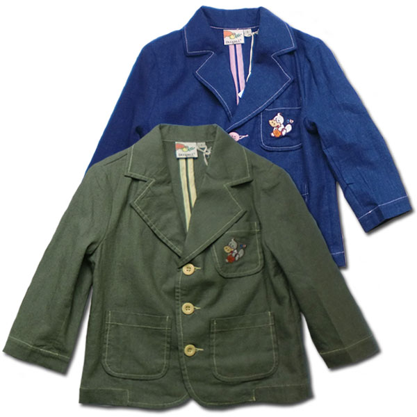 71823cb3559d9c 英国小紳士 刺繍入り麻ジャケット 85-110