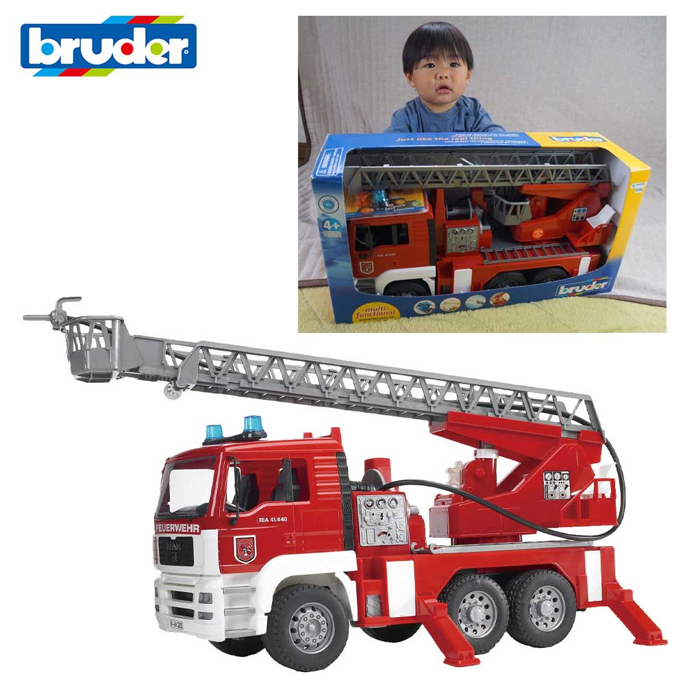 ラッピング可 MAN消防車 本物そっくり bruderブルーダー 働く車を再現した放水できる 大きい でっかい 消防車 レスキュー車 はしご車 動かす 触る 観察する 体験する 知育玩具 はたらくくるま