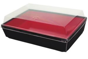 お弁当用テイクアウト紙容器 STコンテナー 赤黒 400入(※フタは別売り)【ポイント10倍/キャンペーン/ご奉仕】【あす楽対応】【HLS_DU】
