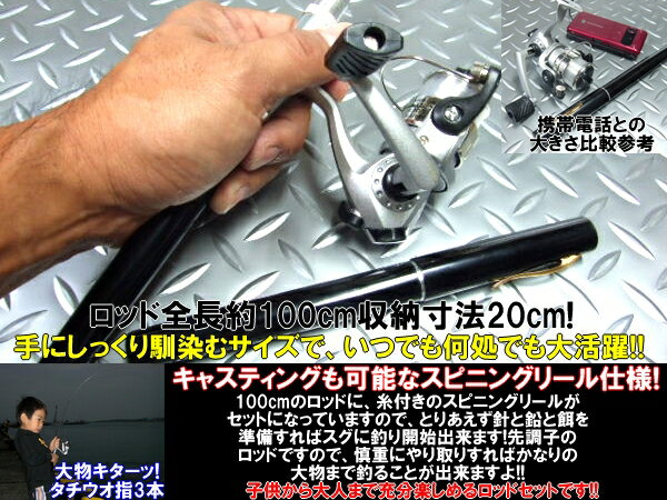 Usable 1m pen type rod & spinning reel set