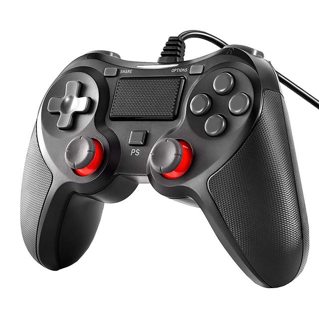 PS4,PS3,PC有線コントローラー 送料無料!PS4コントローラー 有線コントローラー PC PS3対応 PS4 Pro Slim /PS3 /Win7/8/10 対応 有線 ゲームパッド 人間工学 二重振動 定形外郵便発送のみ