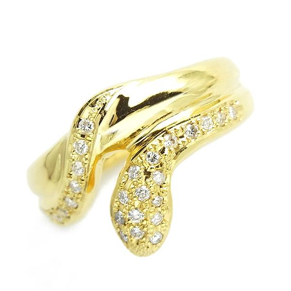 【ご注文確認後3%OFF】ダイヤモンド ヘビ リング 0.20ct(Total) - K18 18金 イエローゴールド ヘビ 蛇 ヘビリング スネークリング ゴールドスネーク スネーク ダイヤモンドリング ダイヤリング ダイアモンドリング ダイアリング デザインリング