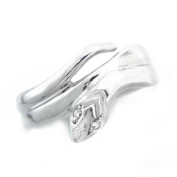 【ご注文後5%OFF】ダイヤモンド ヘビ リング 0.02ct(Total) - K18WG ホワイトゴールド ヘビ 蛇 ヘビリング スネークリング スネーク ダイヤモンドリング ダイヤリング ダイアモンドリング ダイアリング デザインリング