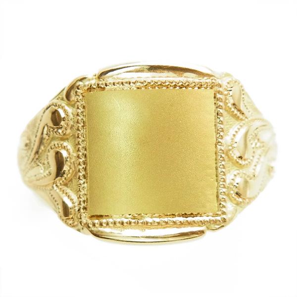 【ご注文後5%OFF】柄入り メンズ リング - K18 18金 イエロー ゴールド メンズ リング 男性用 指輪 柄 無地