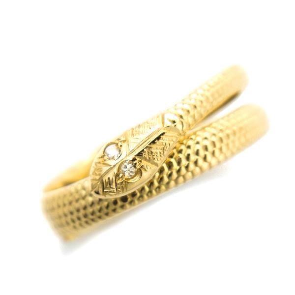 【ご注文後5%OFF】ダイヤモンド ヘビリング 0.01ct(Total) - K18 18金 イエローゴールド ゴールド 蛇 ヘビ スネークリング snake ring 幸福 招福 縁起