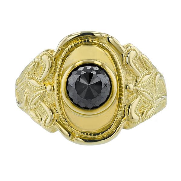 【ご注文後5%OFF】ブラックダイヤモンド メンズリング 1.343ct - K18 ブラック ダイヤモンド 1ct 1カラット 18金 K18 ゴールド イエローゴールド ブラックダイヤ 黒ダイヤ リング 指輪 mens メンズリング メンズジュエリー