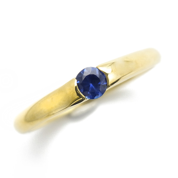【ご注文後5%OFF】サファイア リング 0.20ct up --ラウンドカット K18 18金 ゴールド イエローゴールド 指輪 sapphire サファイアリング サファイヤ ring 一粒 ソリティア ジュエリー