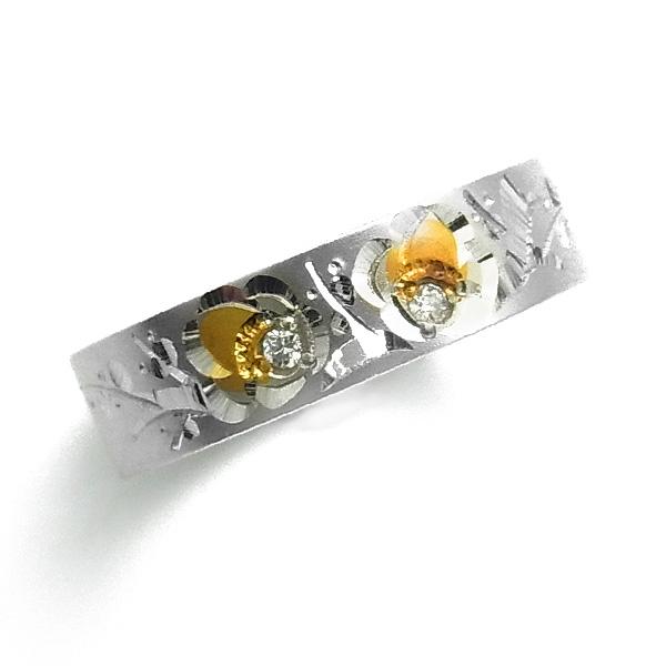 【ご注文確認後3%OFF】平打ち 梅和彫り リング 0.02ct(Total) - Pt/K18 和彫り Pt900 プラチナ 18金 イエローゴールド ゴールド 伝統工芸 ダイヤモンド リング ダイヤモンドリング 和柄 和彫りリング 昔ながら 梅 指輪 花