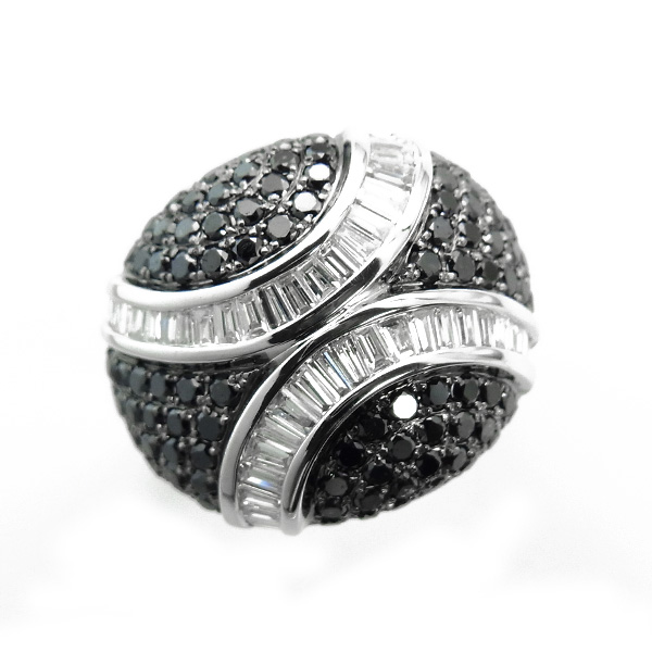 【ご注文後5%OFF】ブラックダイヤモンド リング2.00ct(Total) K18WG 保証書付