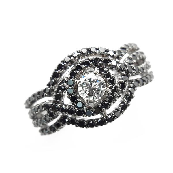 【ご注文確認後3%OFF】ブラックダイヤモンド リング0.98ct(Total) K18WG 保証書付
